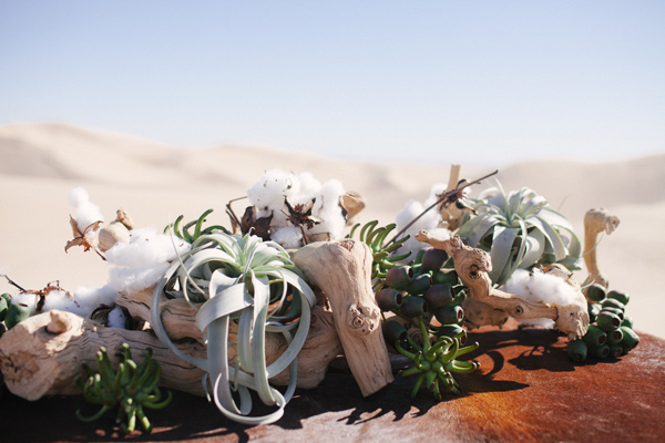 desert wedding centerpiece - photo by Ashley Williams Photography http://ruffledblog.com/california-sand-dunes-wedding