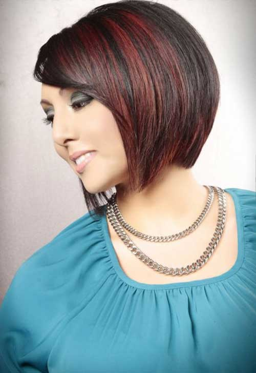 Red Lighted Angled Bob Hairstyles 2015