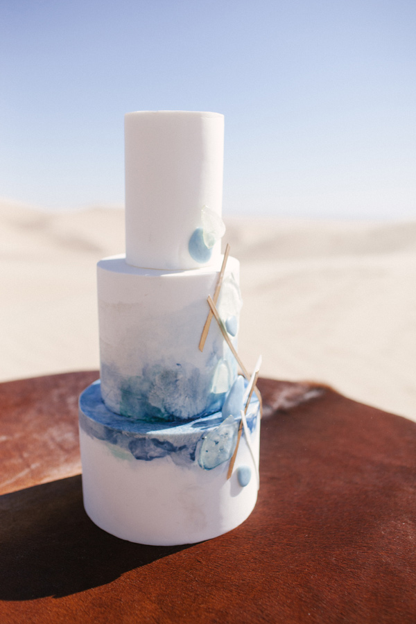 sea glass cake - photo by Ashley Williams Photography http://ruffledblog.com/california-sand-dunes-wedding