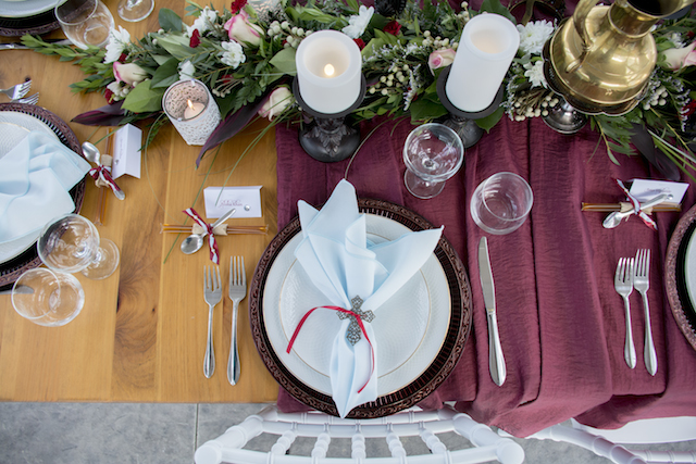 Burgundy tablescape | Alisha Khan Photography | see more on: http://burnettsboards.com/2015/05/romance-chivalry-medieval-inspiration-shoot/