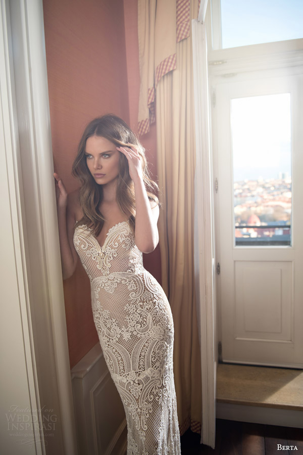 berta bridal fall 2015 illusion neckline lace sweetheart wedding dress close up pearl beaded bodice