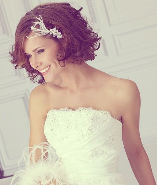 Messy Bridesmaid Hairstyle for Short Curly Hair