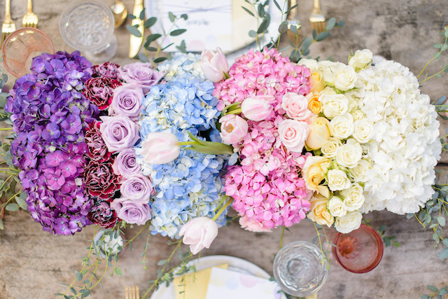 Pastel ombre floral centerpiece | The Veil Wedding Photography | see more on: http://burnettsboards.com/2015/05/whimsical-pastel-ombre-wedding-ideas/