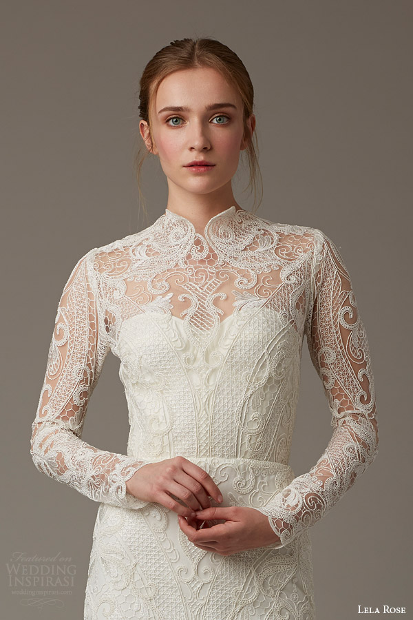 lela rose bridal spring 2016 the birchwood illusion neckline long sleeve lace wedding dress high neck threadwork detail