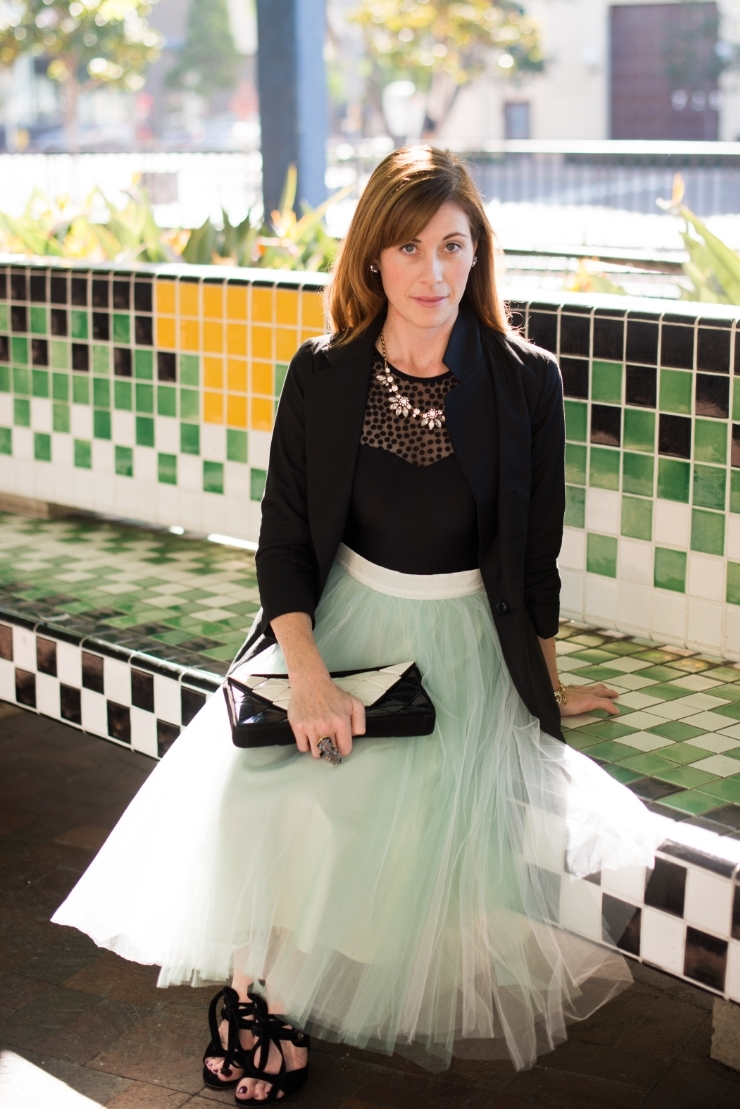 tulle skirt and black blazer