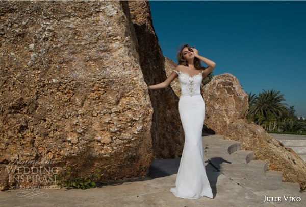 julie vino spring 2015 desert rose bridal collection madison off shoulder sheath wedding dress
