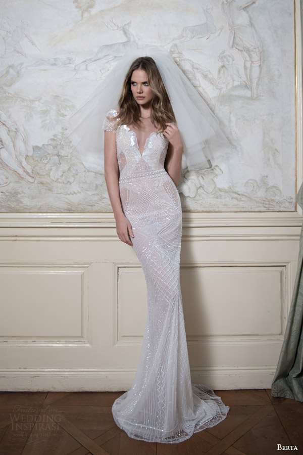 berta bridal fall 2015 short sleeve beaded sheath wedding dress full view