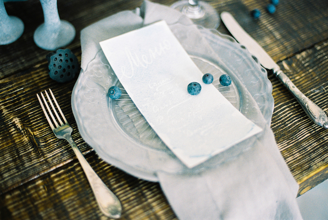 Blue and pewter place setting | Maria Levitska | see more on: http://burnettsboards.com/2015/05/cold-sea-shore-stormy-wedding-editorial/