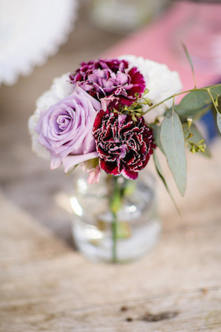 Purple floral centerpiece | The Veil Wedding Photography | see more on: http://burnettsboards.com/2015/05/whimsical-pastel-ombre-wedding-ideas/
