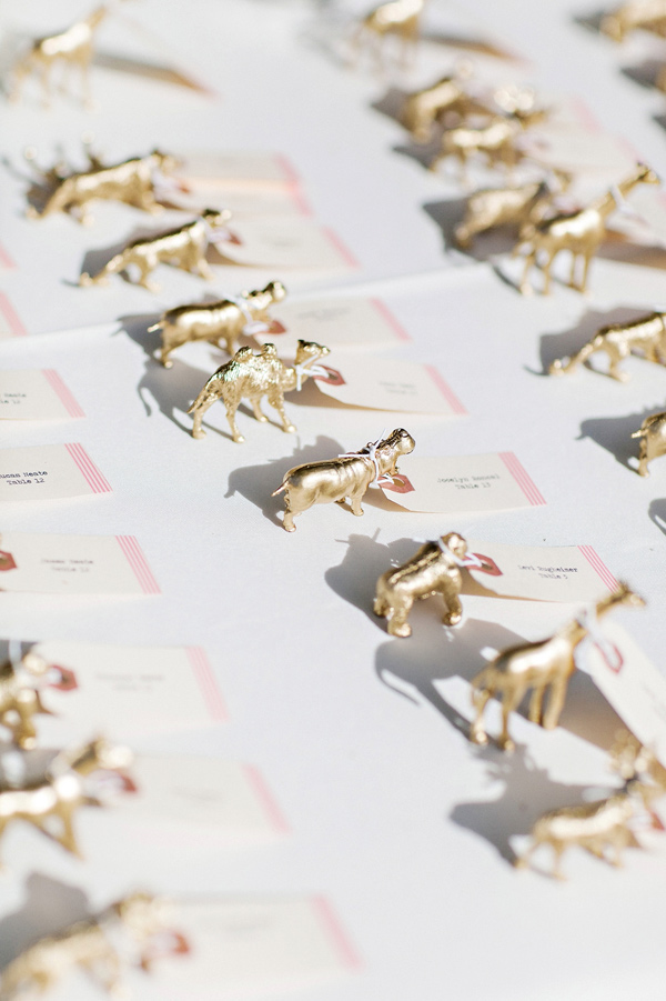 gold animal figurines - photo by Pinkerton Photography http://ruffledblog.com/spring=romantic-wedding-in-the-desert