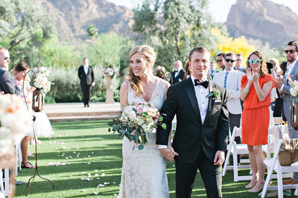 ceremony recessional - photo by Pinkerton Photography http://ruffledblog.com/spring=romantic-wedding-in-the-desert