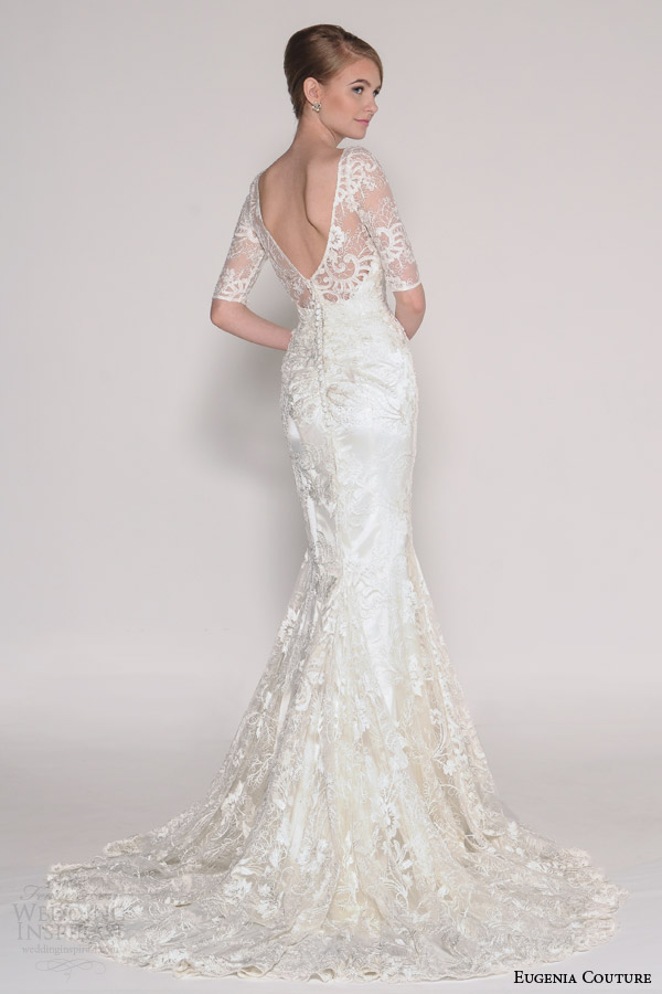 eugenia couture bridal spring 2016 delia illusion half sleeve mermaid wedding dress back view
