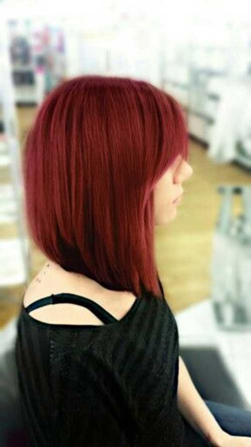Red Angled Bob with Bangs for Girls