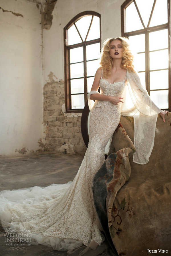 julie vino spring 2015 mystic dusk bridal collection antonia lace sheath wedding dress shown with shawl