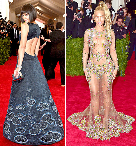 Katie Holmes and Beyonce Knowles stun (and flash quite a bit of skin!) on the red carpet at the Met Gala 2015 in NYC on May 4.
