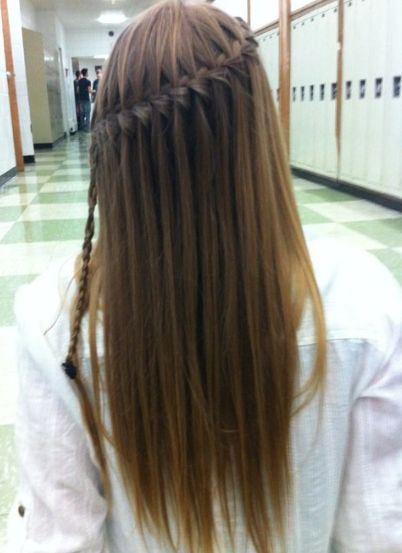 Pretty Waterfall Braid for Long Hair