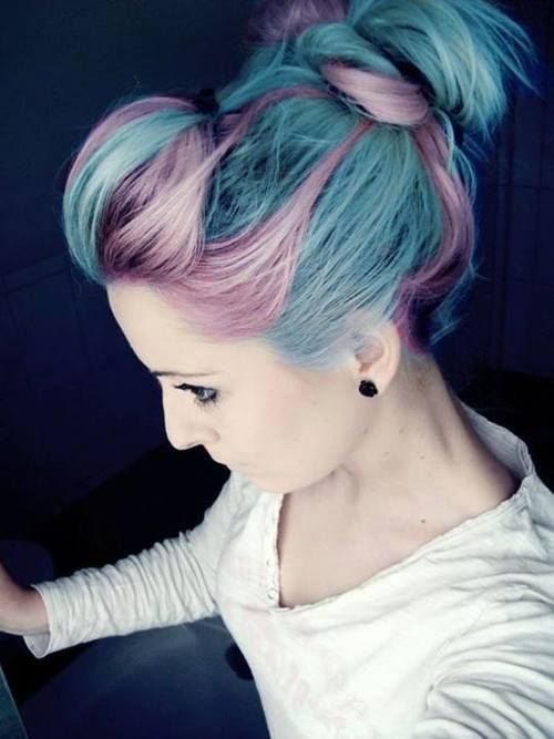 Topknot Hairstyle for Blue, Purple Hair