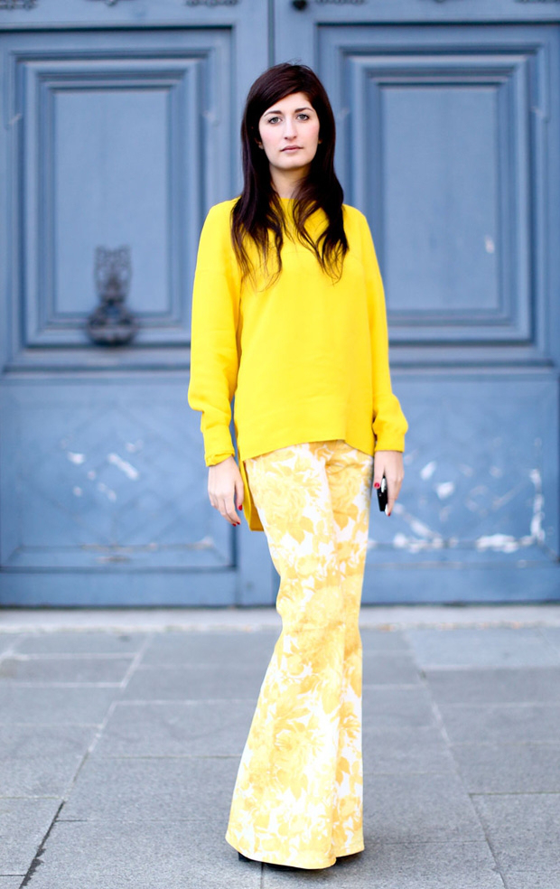 yellow on yellow flare pants