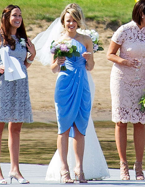Rachel McAdams attends her friends wedding as a bridesmaid on May 23, 2015 in Muskoka, Canada