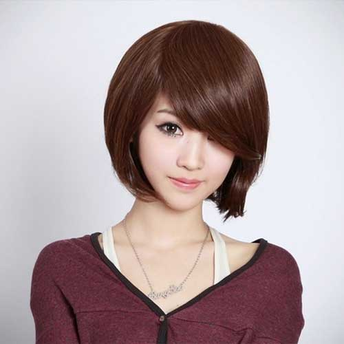 Dark Brown Straight Short Hairdo with Cute Bangs