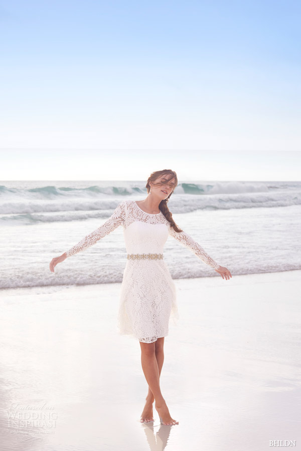 bhldn summer 2015 cynthia long sleeve lace short wedding dress encore watters
