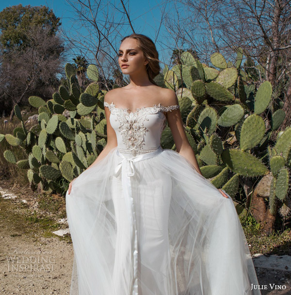 julie vino spring 2015 desert rose bridal collection madison off shoulder sheath wedding dress close up