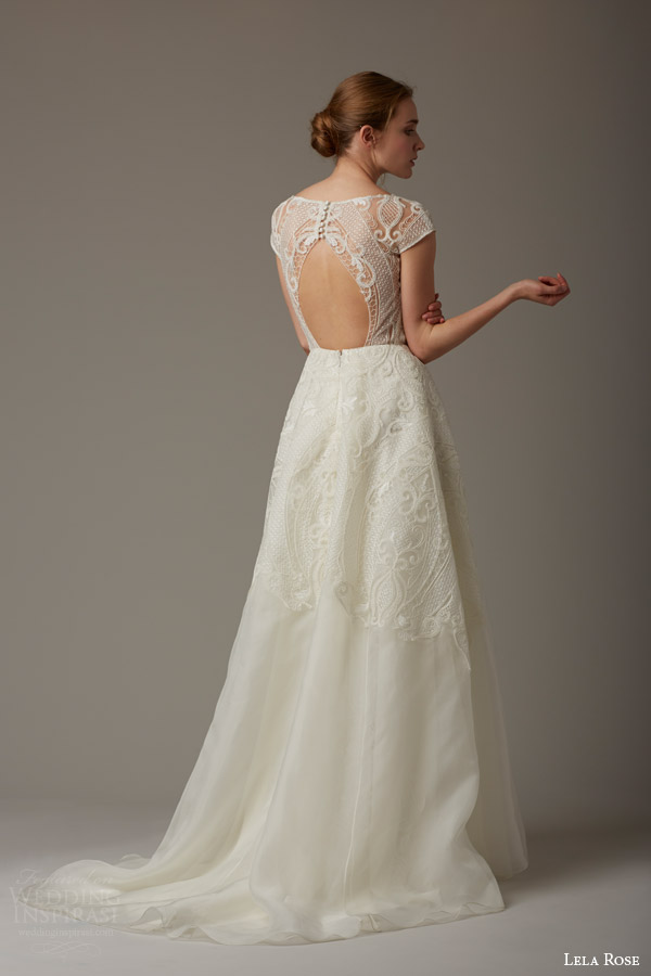 lela rose bridal spring 2016 the magnolia tree cap sleeve wedding dress lace bodice keyhole back