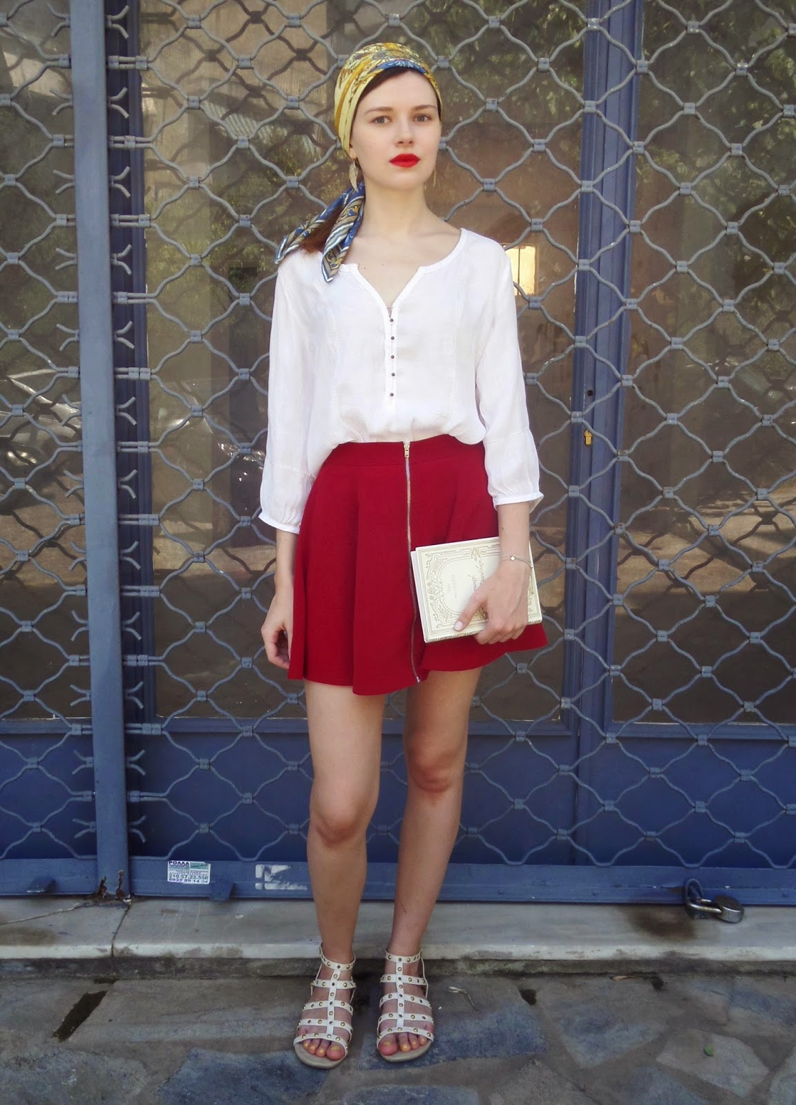 peasant blouse and red skirt