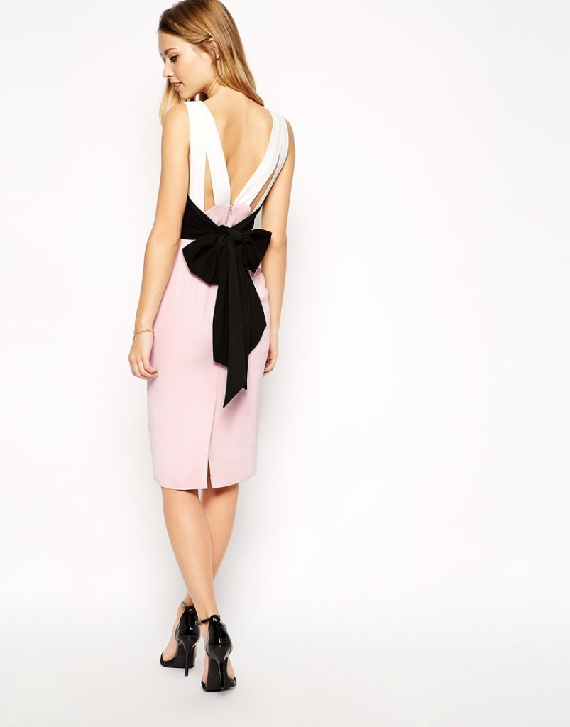 Lace-up back bow color one pace dress