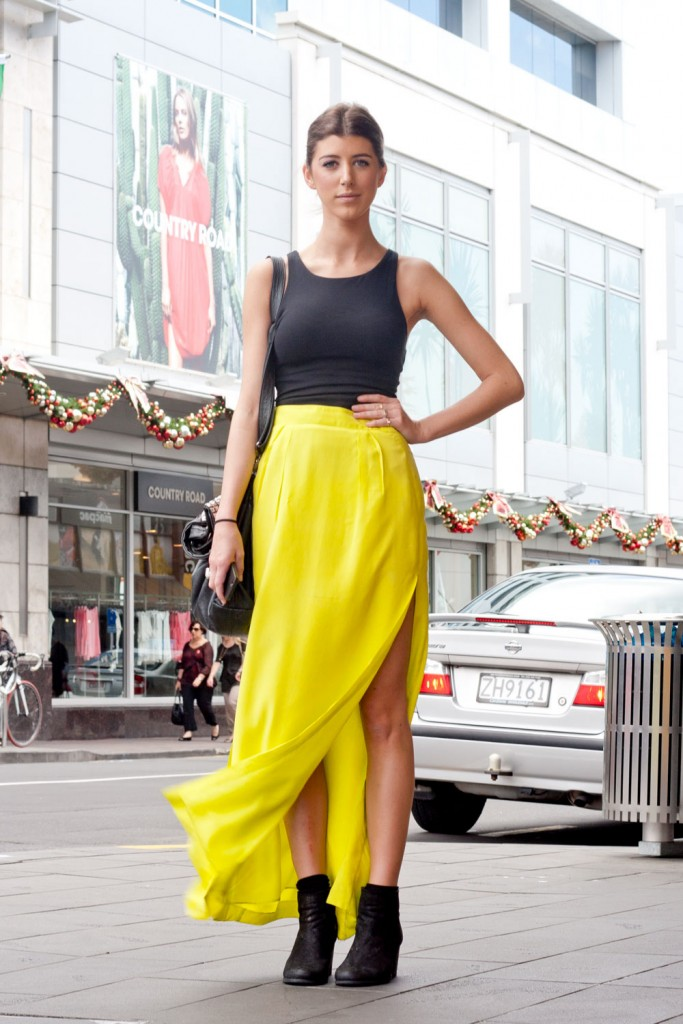 yellow maxi skirt slit and tank top