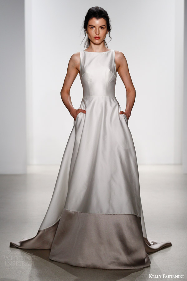 kelly faetanini bridal spring 2016 alessia sleeveless a line duotone wedding dress pockets keyhole back