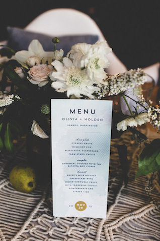 Watercolor wedding menu | Jason Wasinger Photography | see more on: http://burnettsboards.com/2015/05/painterly-chic/