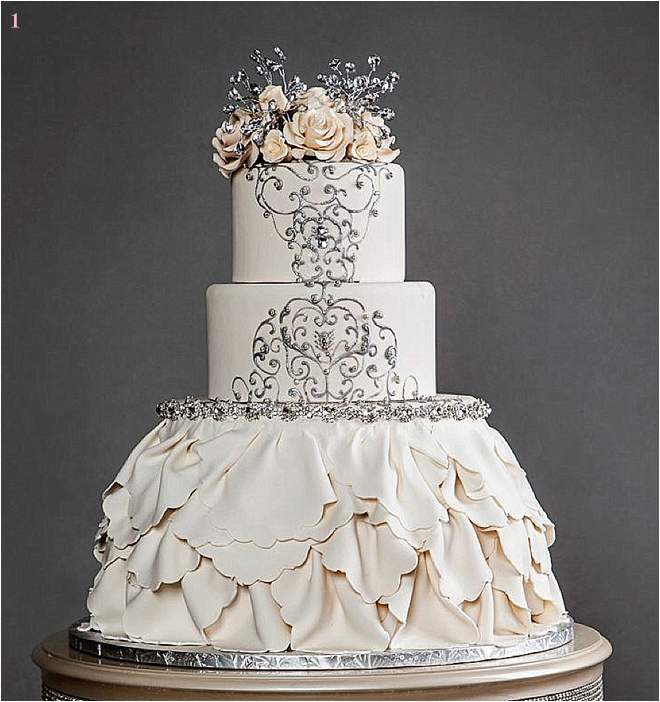 Cream Ruffled Wedding Cake with Flower and Jeweled Details
