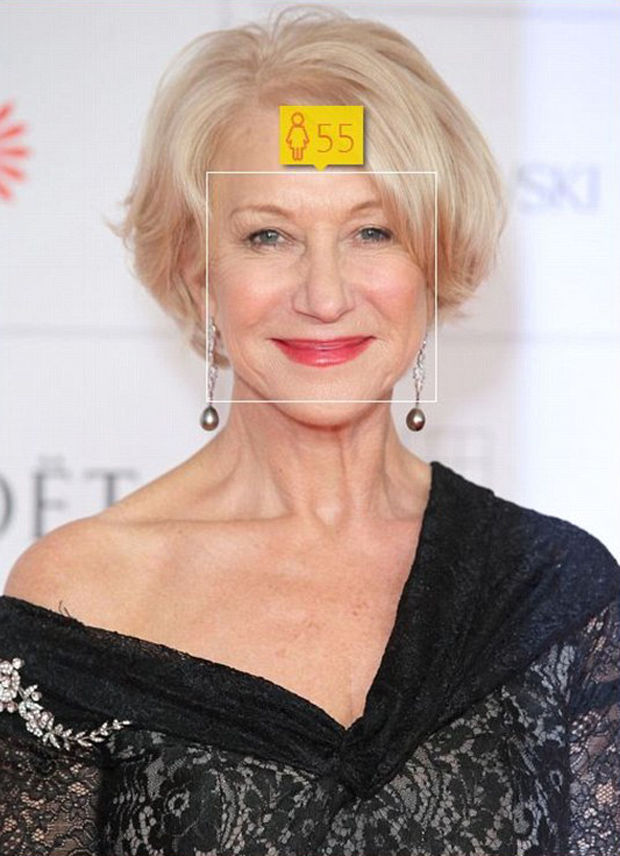 Helen Mirren, age 69, looks 55 according to How-Old.net.
