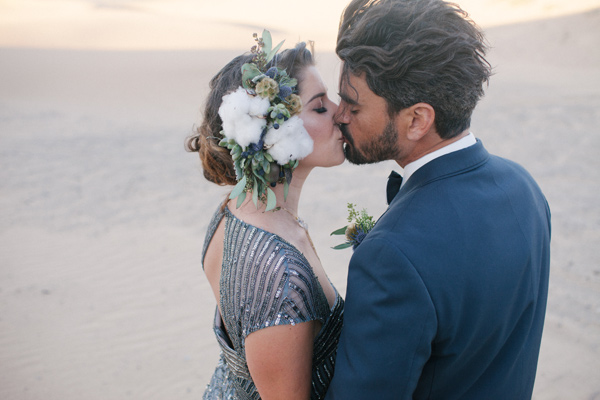 cotton bridal crown - photo by Ashley Williams Photography http://ruffledblog.com/california-sand-dunes-wedding