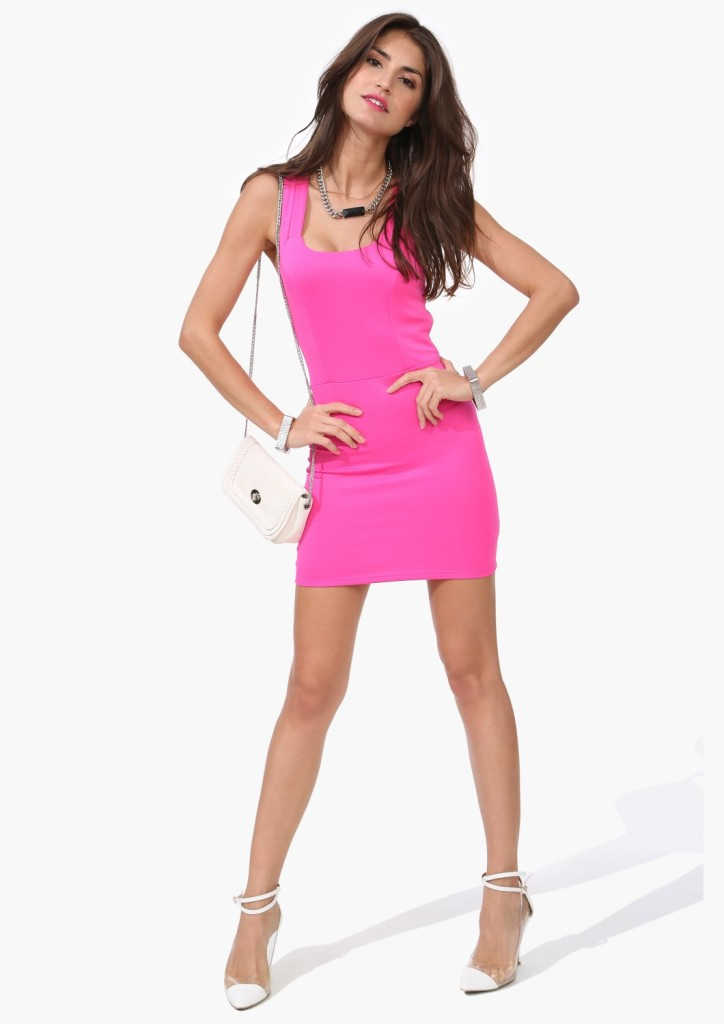 Double spaghetti strap back cutout racerback slim hip one-piece dress