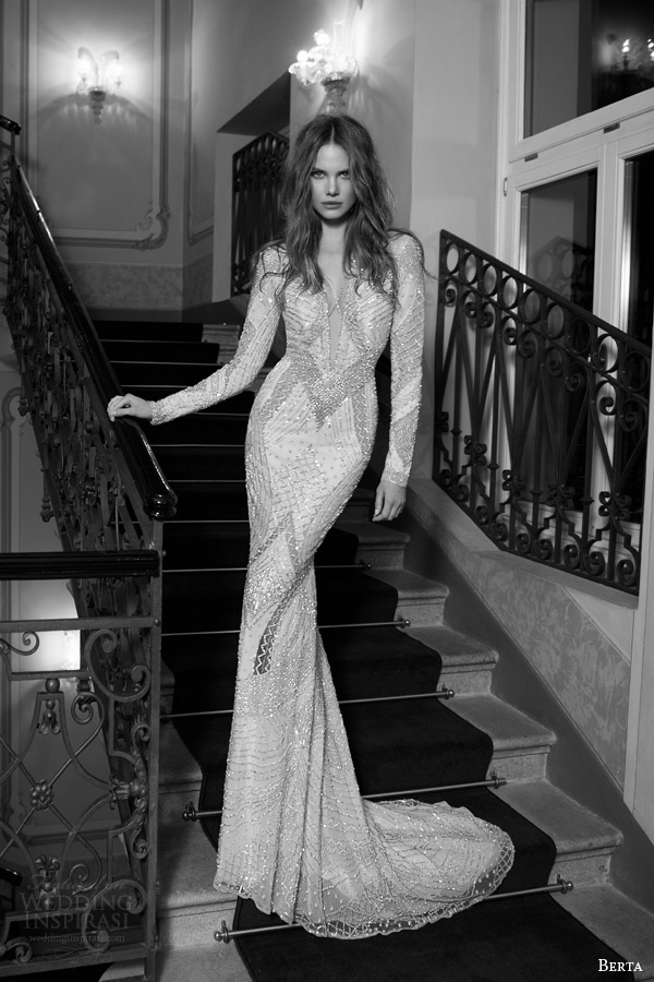 berta fall 2015 bridal long sleeve beaded sheath wedding dress