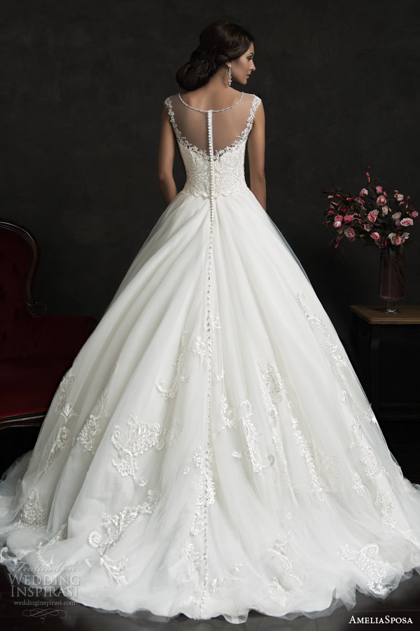 amelia sposa 2015 bridal luiza illusion neckline cap sleeve a line wedding dress back view