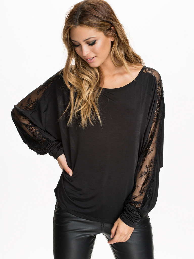 Patchwork lace racerback o-neck long-sleeve T-shirt