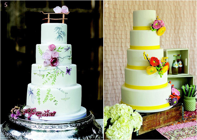 Tiered-Wedding-Cake-with-Bright-Colors-and-Floral-Touches