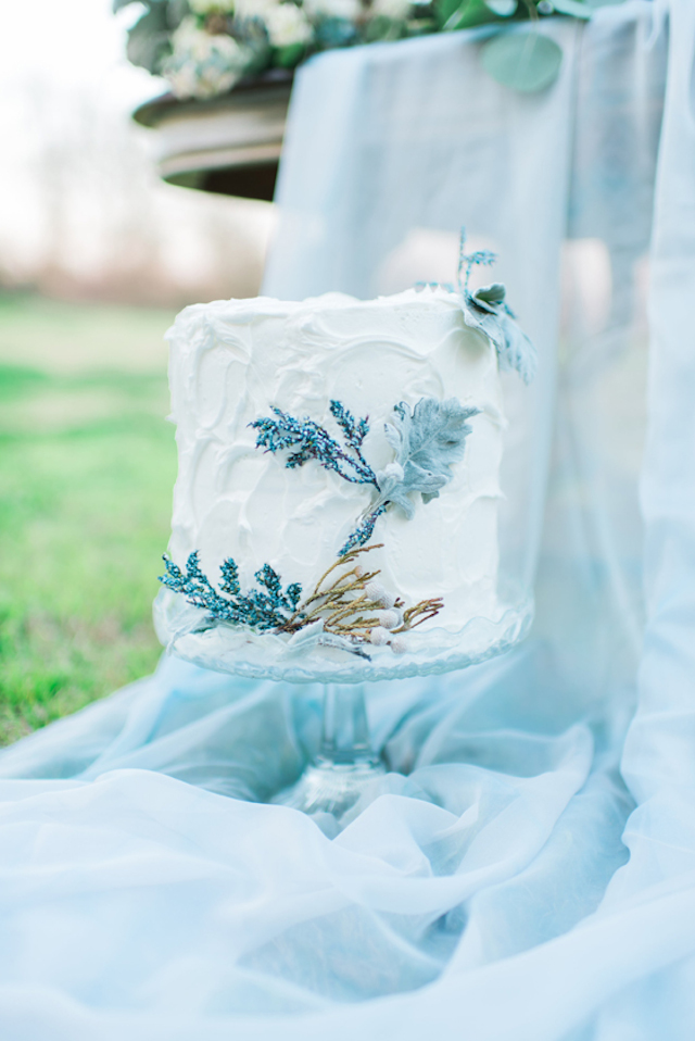 Dusty miller wedding cake | Elisheva Golani Photography and Belle Soul Weddings | see more on: http://burnettsboards.com/2015/05/romantic-dusty-blue-wedding/