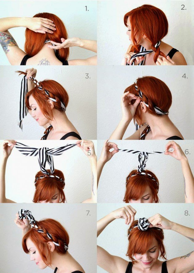 Maiden Braid with Scarf Headband Tutorial 2