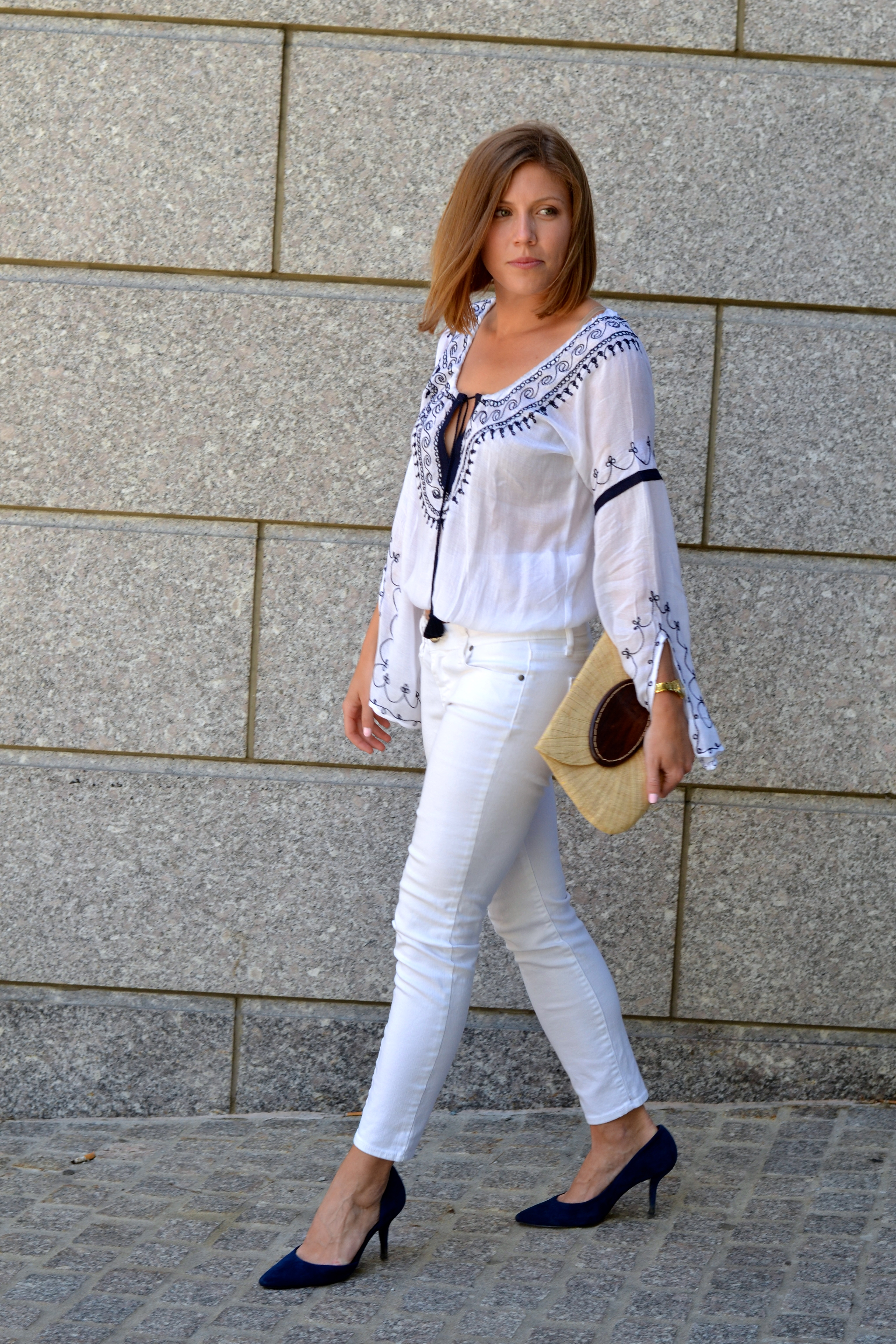 peasant blouse and tailored pants