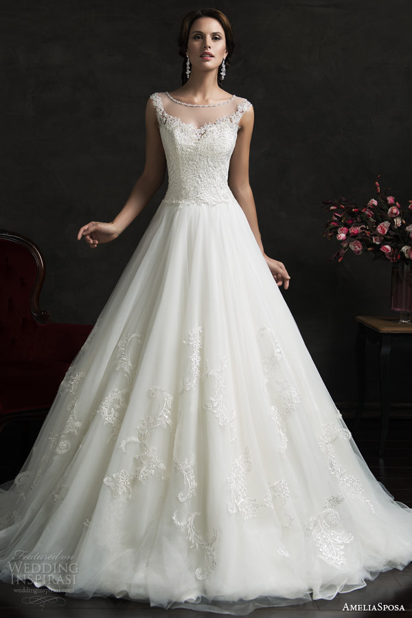 amelia sposa 2015 bridal luiza illusion neckline cap sleeve a line wedding dress