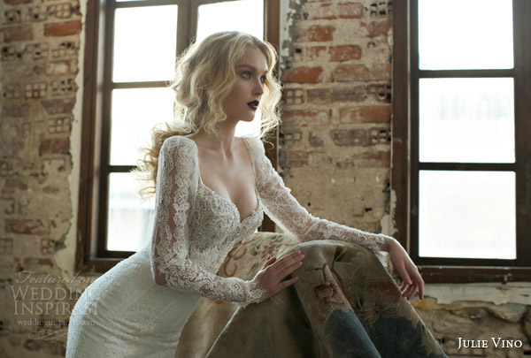 julie vino spring 2015 mystic dusk bridal collection donna illusion long sleeve wedding dress lace bodice alt view