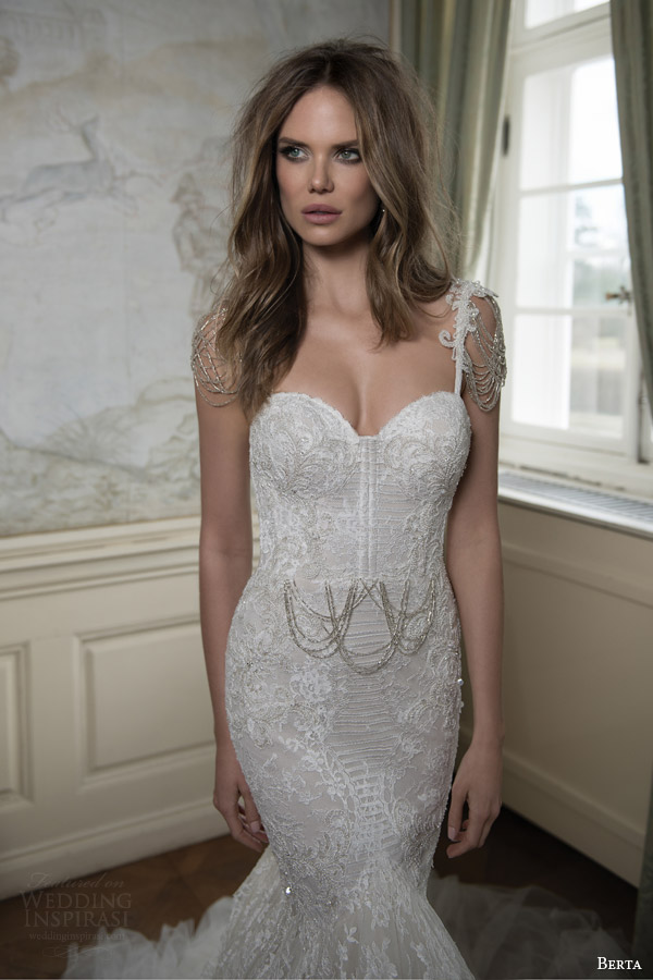 berta bridal fall 2015 mermaid wedding dress draped swag bead cap sleeves close up bodice