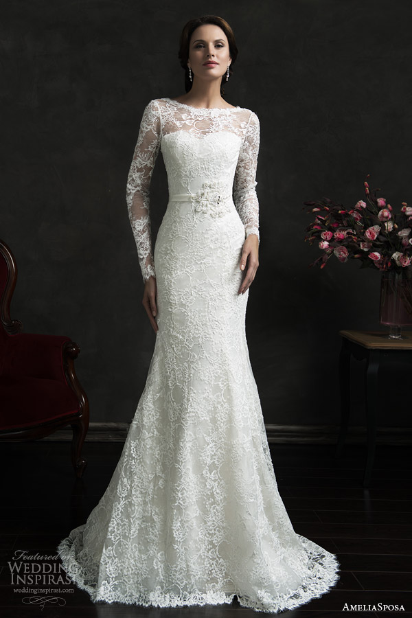 amelia sposa 2015 bridal novia long sleeve lace weddig dress illusion neckline