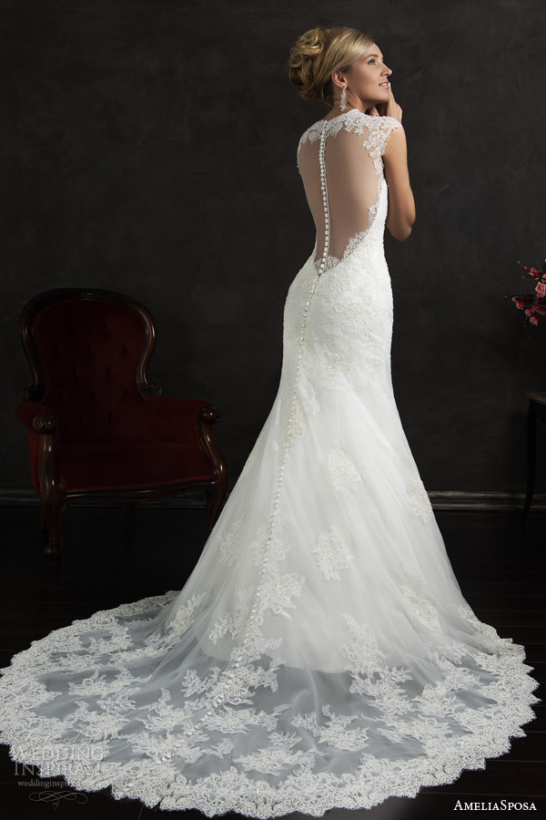 amelia sposa 2015 bridal valensia cap sleeve lace trumpet wedding dress back view train