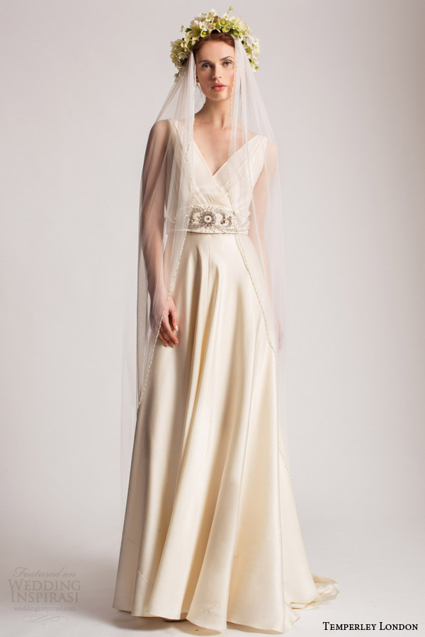 temperley london bridal spring summer 2016 madison bow dress surplice v neckline embellished waist