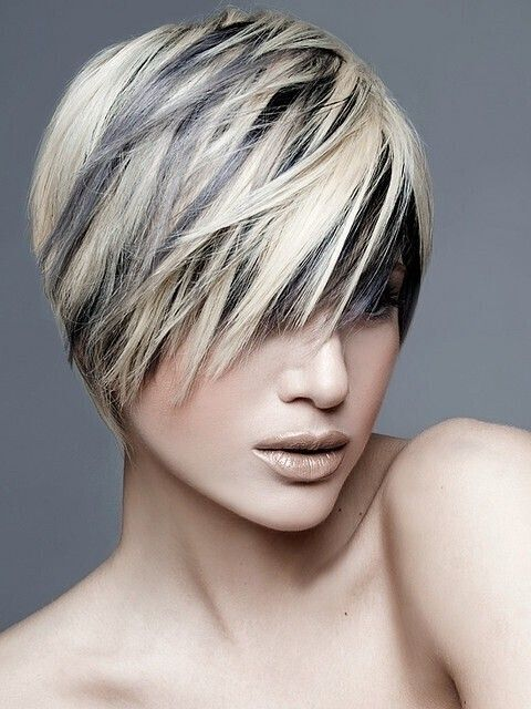 Short Layered Haircut with Blonde Highlights